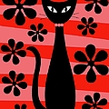 Groovy Flowers With Cat Red And Light Red by Donna Mibus