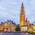 Grote Markt Square In Antwerp by Werner Dieterich