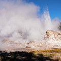 Grotto Geyser Eruption And Spray by Bob Phillips