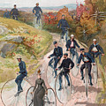 Group Riding Penny Farthing Bicycles by American School