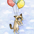 Grumpy Cat and Balloons by Olga Shvartsur