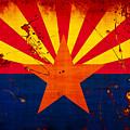 Grunge And Splatter Arizona Flag by David G Paul