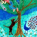 Guard Dog And Guard Peacock  by Sushila Burgess