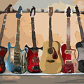 Guitars On A Rack by Arline Wagner