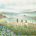Gulls Over Flowers At The Bay by Samuel Showman