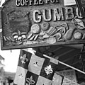 Gumbo Sign - Black And White by Carol Groenen