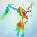 Gymnast Watercolor Paint Splatter by Dan Sproul