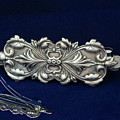 Hair Barrette Art Nouveau Sterling Silver by Melany Sarafis