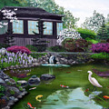 Hakone Gardens Pond In The Spring by Laura Iverson