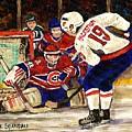 Halak Blocks Backstrom In Stanley Cup Playoffs 2010 by Carole Spandau