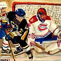 Halak Catches The Puck Stanley Cup Playoffs 2010 by Carole Spandau