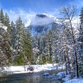 Half Dome And The Merced River by Bill Gallagher