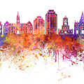 Halifax V2 Skyline In Watercolor Background by Pablo Romero