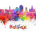 Halifax V2 Skyline In Watercolor Splatters With Clipping Path by Pablo Romero