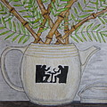 Hall China Silhouette Pitcher With Bamboo by Kathy Marrs Chandler