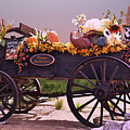 Halloween Cart Full Of Fall Harvest Goodies  by Linda Brody
