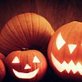 Halloween Pumpkins Glowing, Jack-o-lantern by Michal Bednarek