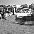 Halls Mill Covered Bridge Landscape Black And White by Adam Jewell