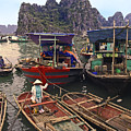 Halong Bay Harbor Scene by Sally Weigand