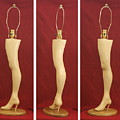 Hand Carved Wood Leg Lamp by Mike Burton