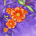 Hand Drawn Pencil And Watercolour Flowers In Orange And Purple by Purrnickerty Cat