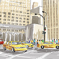 Hand Drawn Sketch Of A Busy New York City Street by Jorgo Photography - Wall Art Gallery