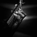 Hand Of A Guitarist In Monochrome by Avalon Fine Art Photography