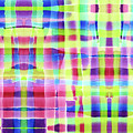 Hand-painted Abstract Gingham Weave Neon Rainbow by Beverly Claire Kaiya