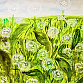 Hand Painted Picture, Meadow With White Dandelines by Irina Afonskaya