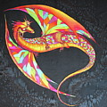 Hand Painted Silk Scarf Dragon On Black by Svetlana Yakovleva