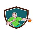 Handball Player Throwing Ball Crest Cartoon by Aloysius Patrimonio