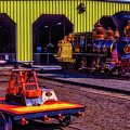 Handcar And Old Train by Garry Gay