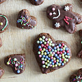 Handmade Decorated Gingerbread Heart And People Figures by Michal Bednarek