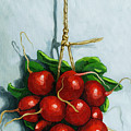 Hanging Around - Radishes Still Life Painting by Linda Apple