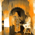 Hanging Out Travel Exotic Arches Orange Abstract Square India Rajasthan 1c by Sue Jacobi