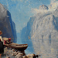 Hans Dah,  B. 1849. D. 1937. Norwegian Girl By The Sea by Adam Asar