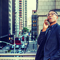 Happy African American Businessman Working In New York by Alexander Image