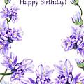 Happy Birthday Purple Flowers by Irina Sztukowski