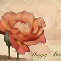 Happy Birthday Peach Rose Card by Teresa Zieba