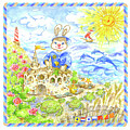 Happy Bunny Building Castle by Svetlana Titarenko