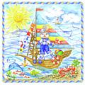 Happy Bunny On The Boat by Svetlana Titarenko