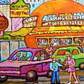 Happy Days At The Orange Julep Paintings C Spandau Decarie Strip Montreal Memories Quebec Art        by Carole Spandau