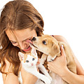 Happy Girl With Kitten And Affectionate Puppy by Susan Schmitz