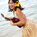 Happy Girl With Ukulele by Brandon Tabiolo - Printscapes