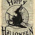 Happy Halloween Witch With Broom Dictionary Artwork by Anna W