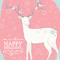 Happy Holidays Deer And Birds by Pam  Holdsworth