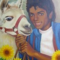 Happy Michael Jackson With His Pet Llama  by Julie Yu