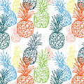 Happy Pineapple- Art By Linda Woods by Linda Woods
