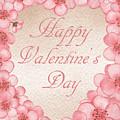 Happy Valentine Pink Heart by Irina Sztukowski