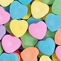Happy Valentines Day With Colorful Heart Shaped Candies by Thomas Baker